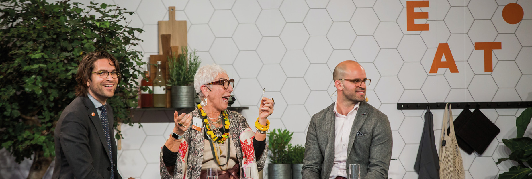 Ronni Kahn (center) speaking during EAT Forum 2019
